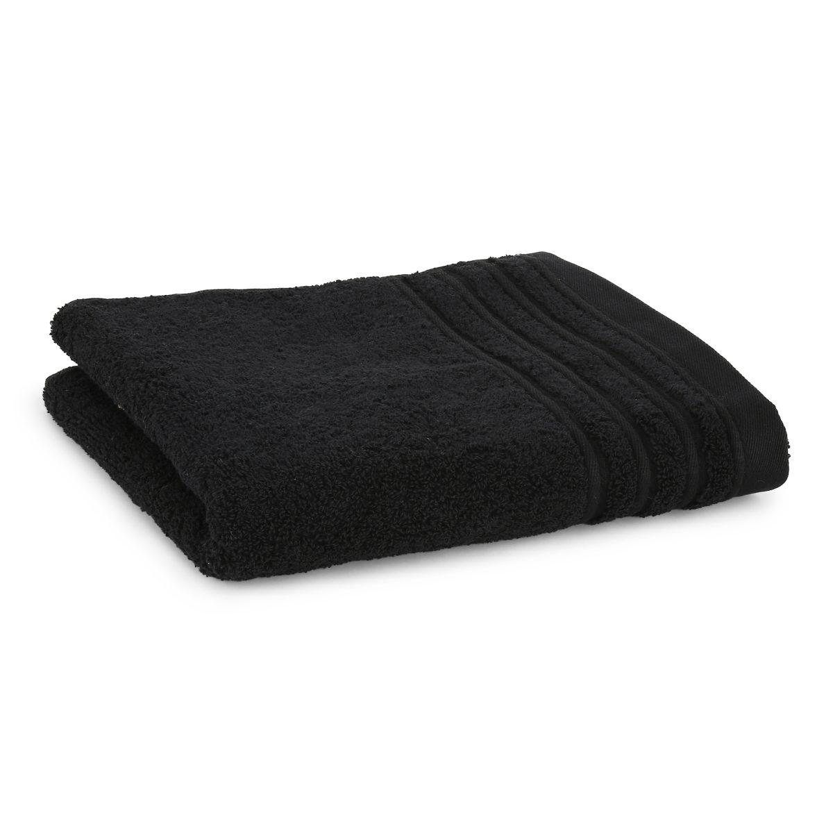 Håndklæde med broderet navn - Sort