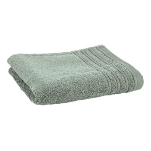 Håndklæde med broderet navn - støvet grøn