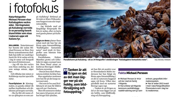 Artikel om Kullafotografen i Helsingborgs Dagblad fotograf Höganäs