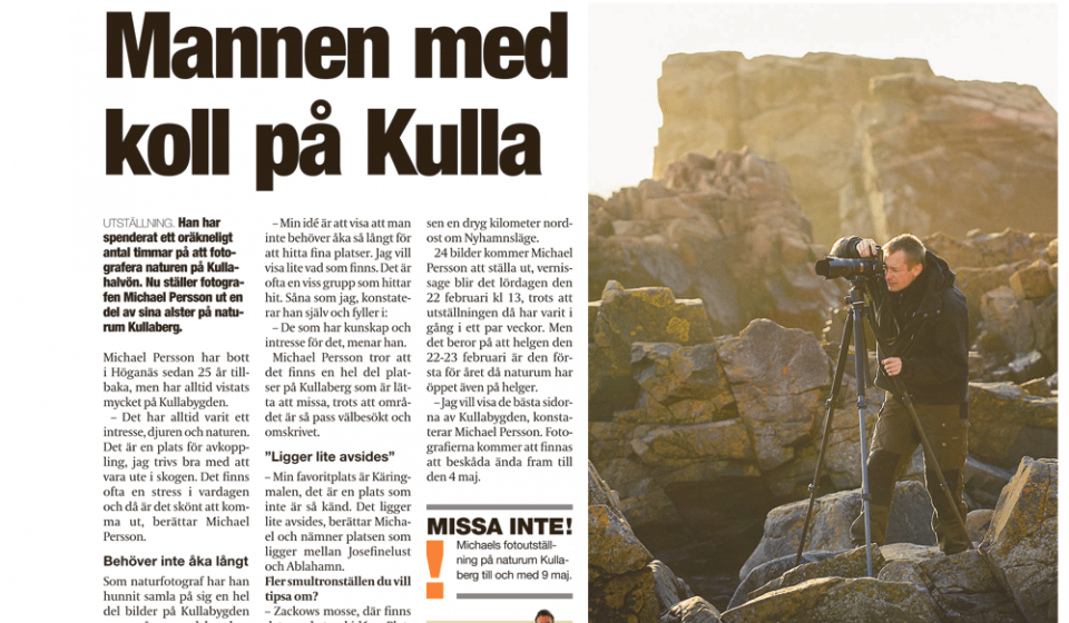 Artikel om Kullafotografen fotograf Höganäs i Lokaltidningen Höganäs