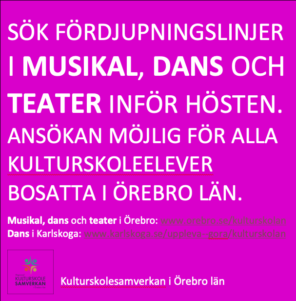 Regionalt intag till fördjupningslinjer i Karlskoga och Örebro.