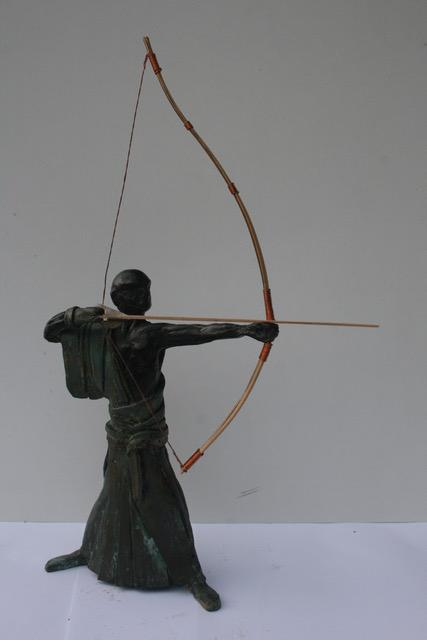 Kyudo boogschutter - Brons en bamboe - 35 x 20 cm