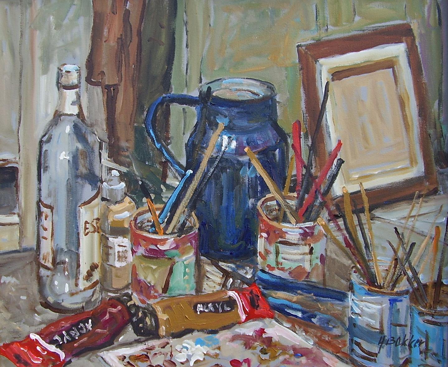Schilders stilleven - Acryl - 50 x 60 cm