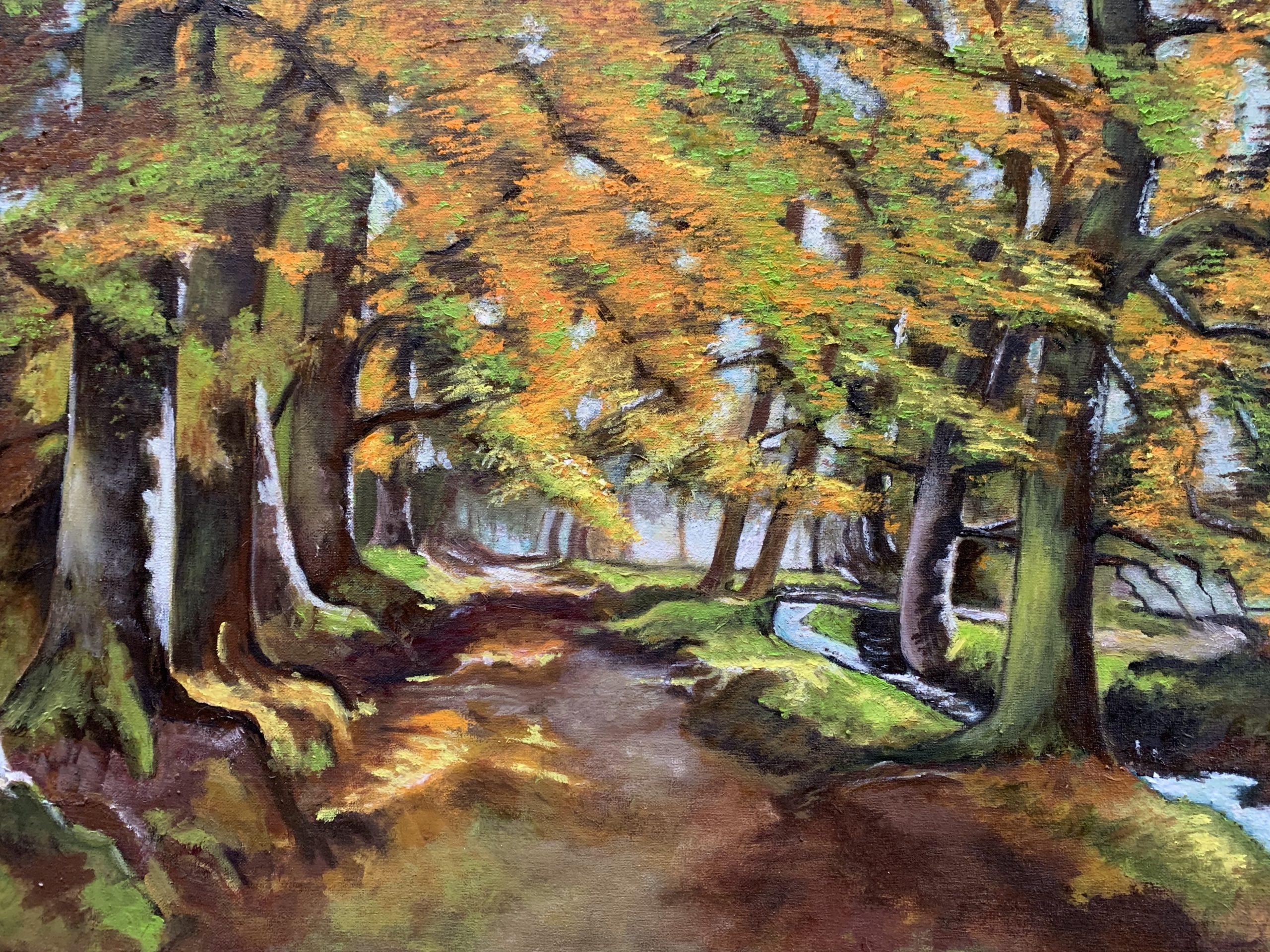 Het Zilverbeekje - Olieverf - 50 x 70 cm