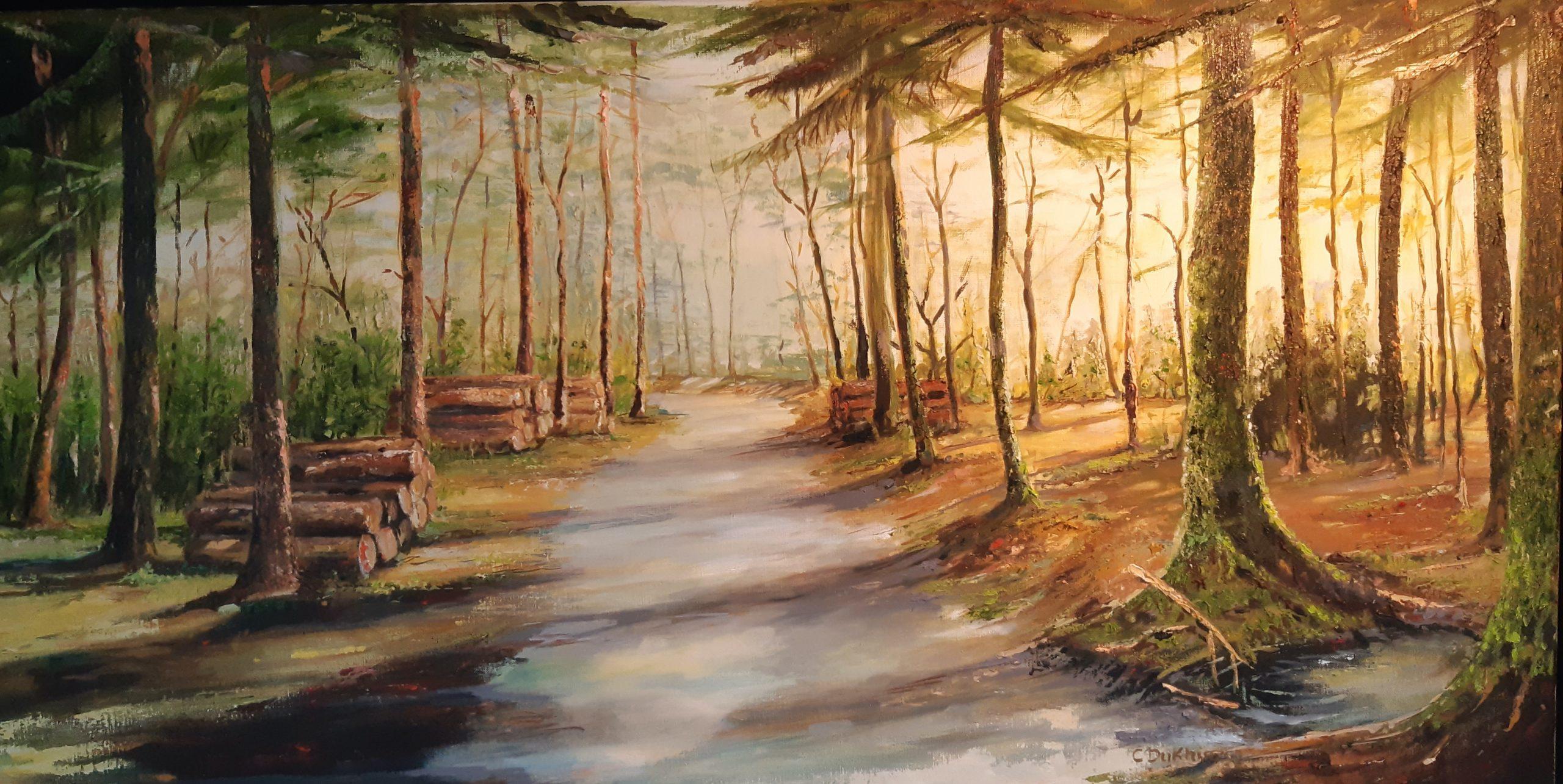 Het pad na de waskolk - Olieverf - 60 x 120 cm