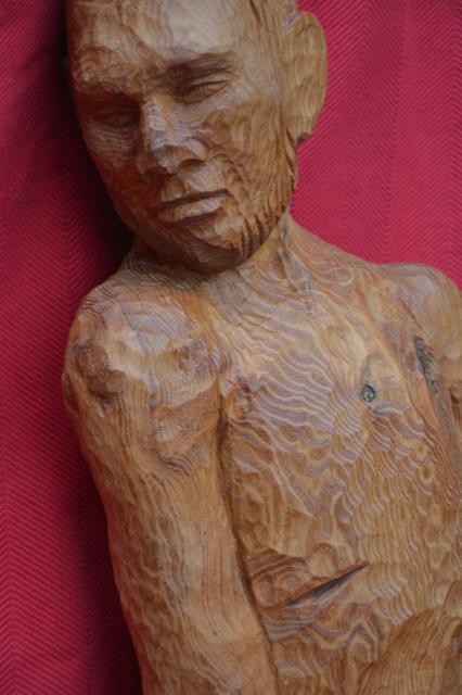 De lijdende mens - Buxus hout