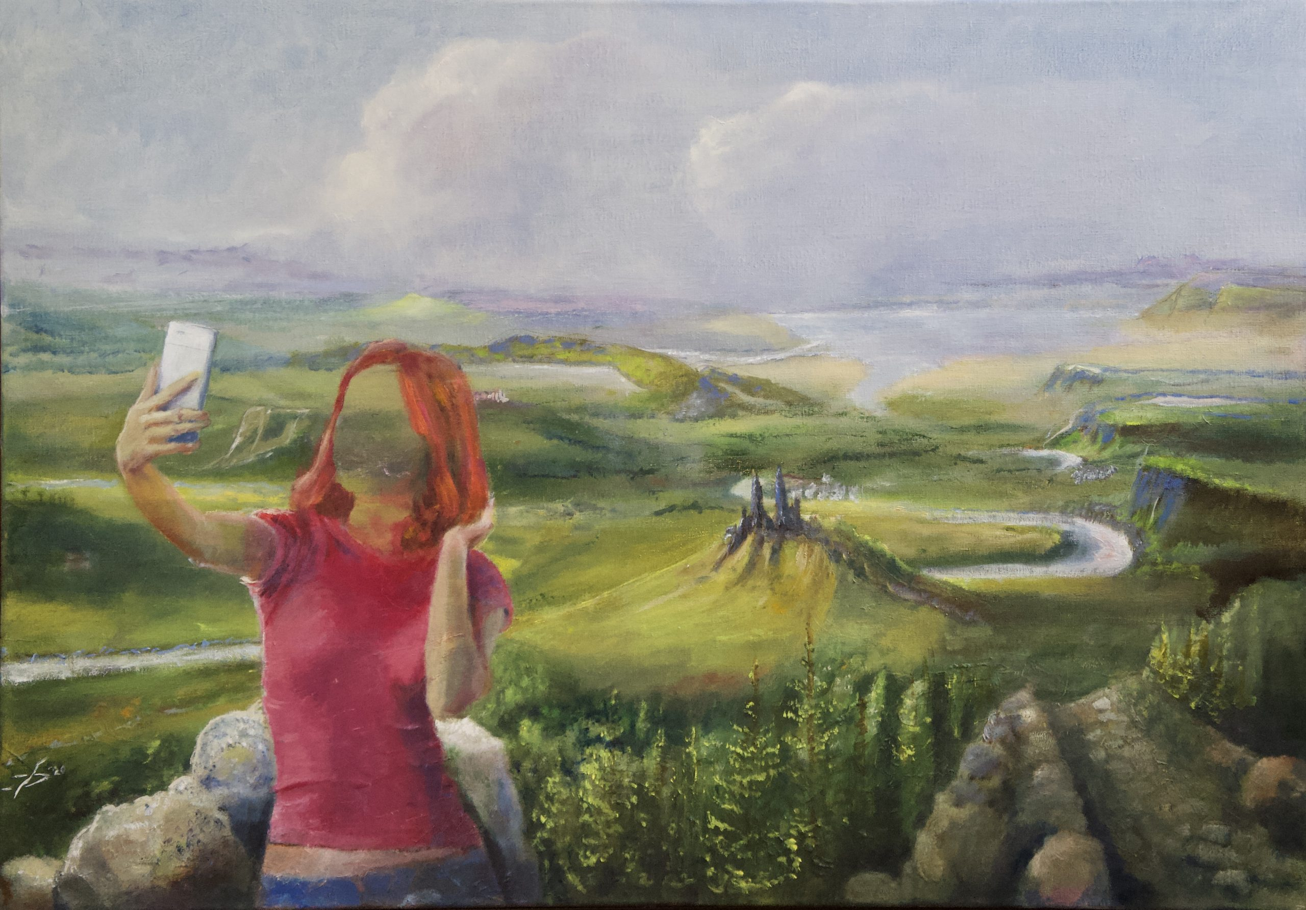 Selfie Landscape - Olieverf - 70 x 100 cm
