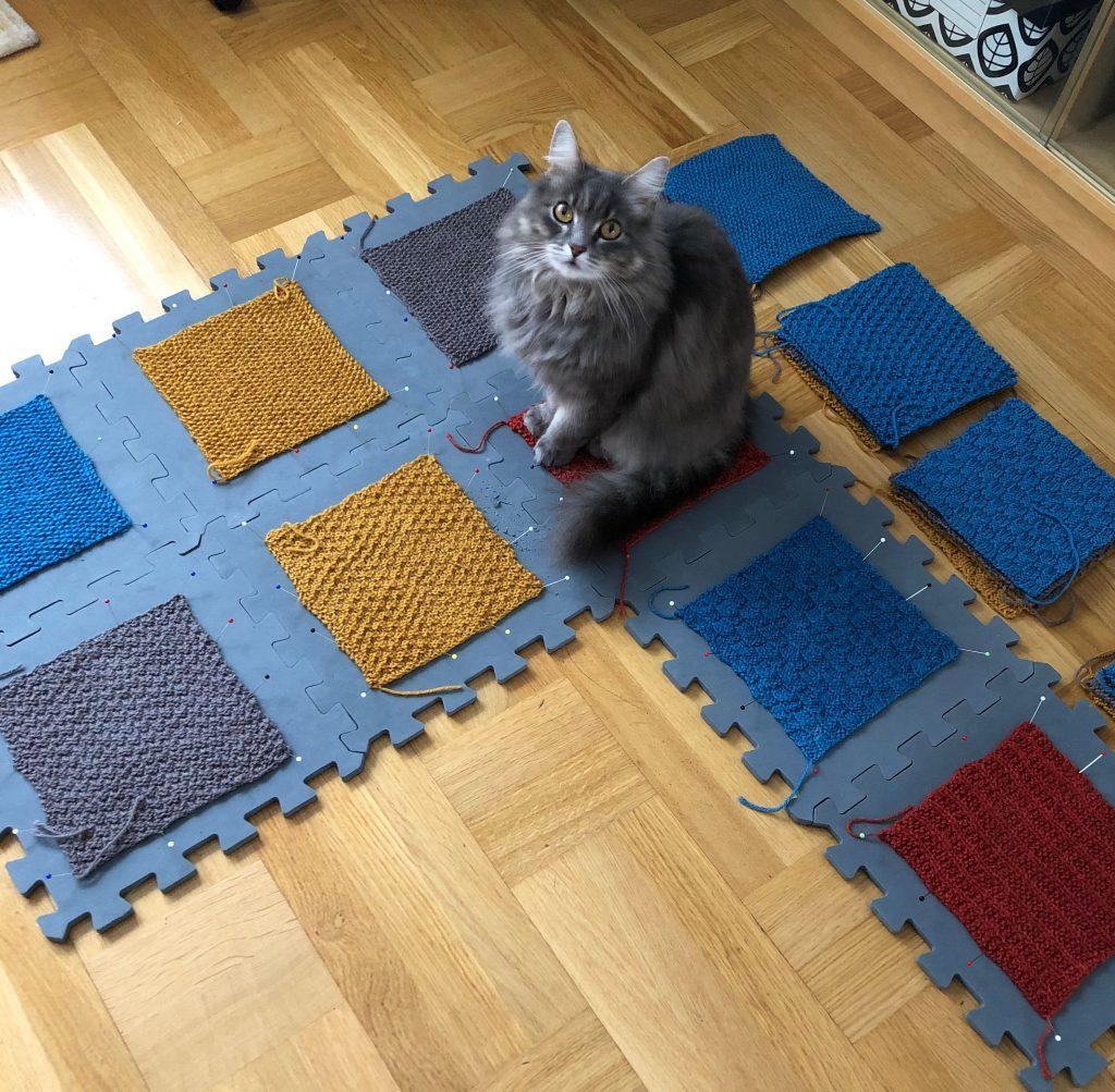 8 stickade rutor är uppnålade på ett golvpussel, Puma-katt sitter på en av rutorna