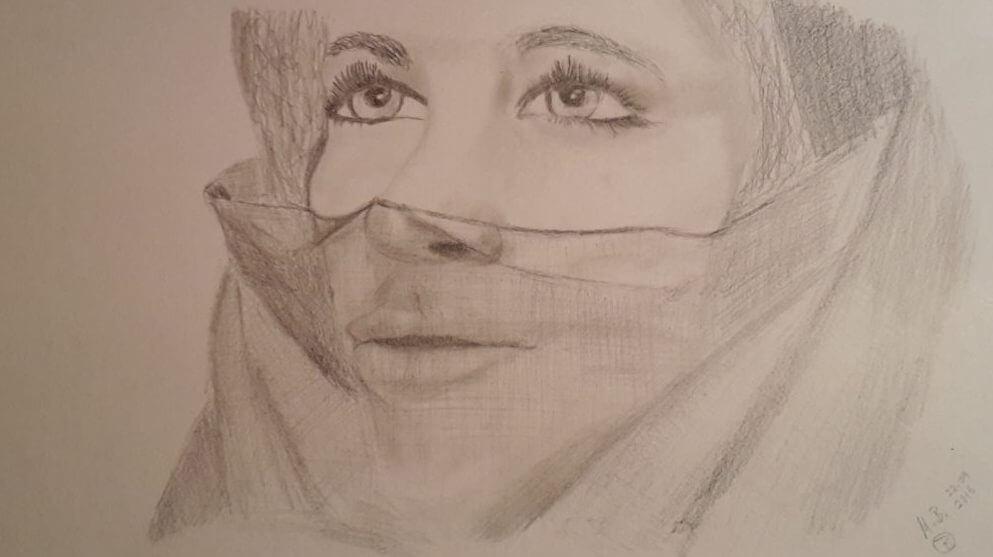 Verschleierte Frau - Bleistiftzeichnung von M.B.