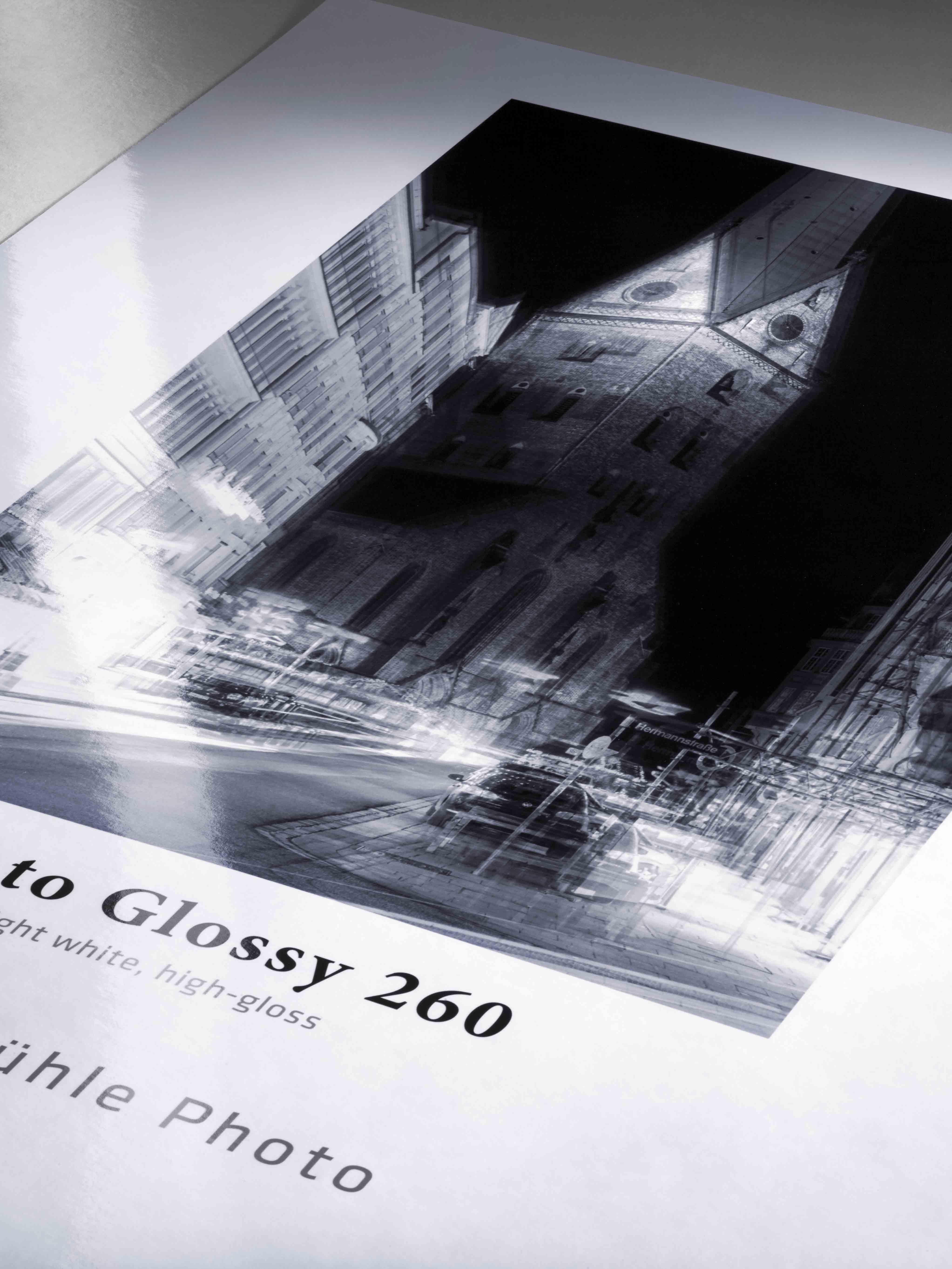 Hahnemühle Photo Glossy 260. Papier brillant, 260 g/m². Utilisation quotidienne.