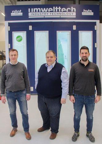 Geschäftsführer Gernot Eissner (m.), flankiert von Serviceleiter Rene Schmircher (l.) und Benjamin Stohl, Serviceberater für Karosserie und Lack