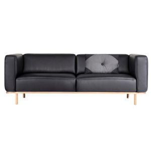 Andersen Furniture A1 2,5-personers sofa - sort læder - stel i hvidpigmenteret eg