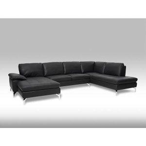 Bolette U-sofa - Sort læder - Venstrevendt