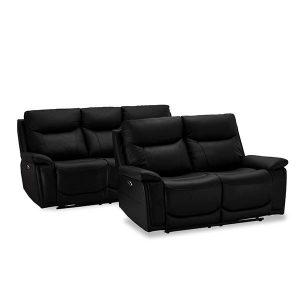 Bremen sofasæt i sort læder - 2 + 3 pers.