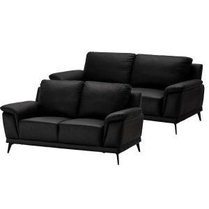 Dortmund sofasæt i sort læder - 2 + 3 pers.