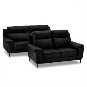 Hannover sofasæt i sort læder/PVC - 2 + 3 pers.