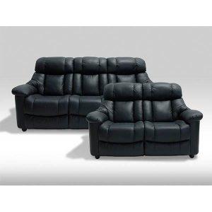 Malmø sofasæt i sort læder - 2 + 3 pers.