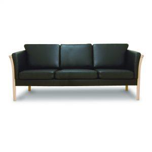Oxford 3 Pers. Sofa I Ubehandlet Bøg Med Sort Bonded Læder