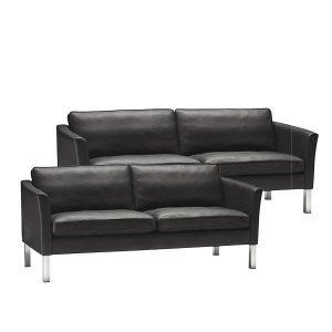 Stouby Ace sofa 2+3 pers. med sort læder