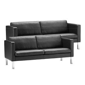 Stouby Bace sofa 2+3 pers. med sort læder
