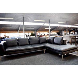 Theca Loano Open end sofa - sort læder - Højrevendt