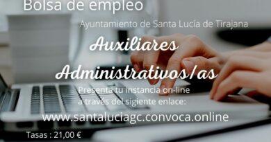 "Convocatoria Bolsa de Empleo ""Auxiliares Administrativos"" Ayuntamiento de Santa Lucía de Tirajana."