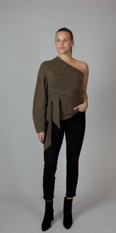 10.NANUSHKA, Cleto Brown One Sleeve Sweater