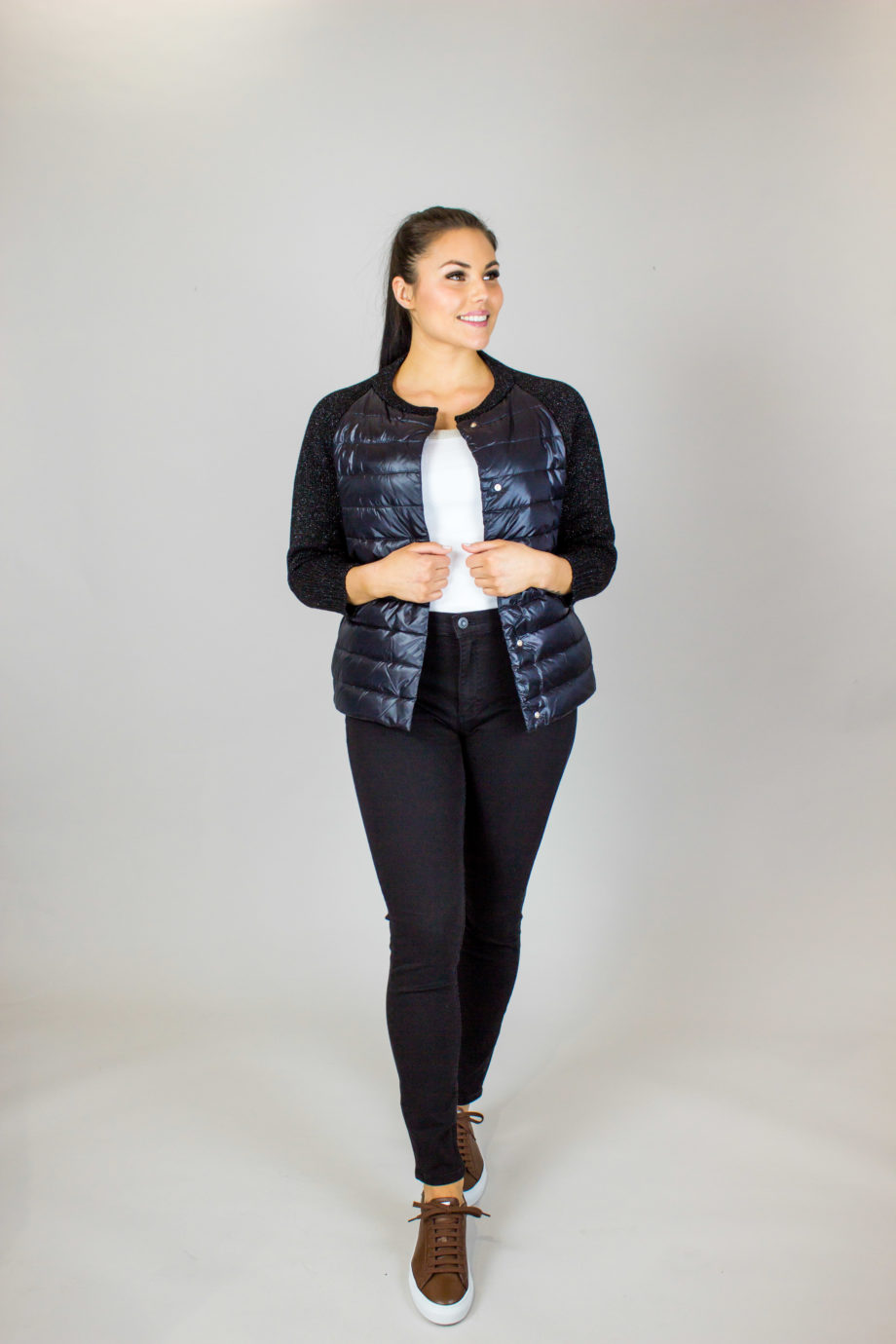 HERNO Glitter sleeve jacket