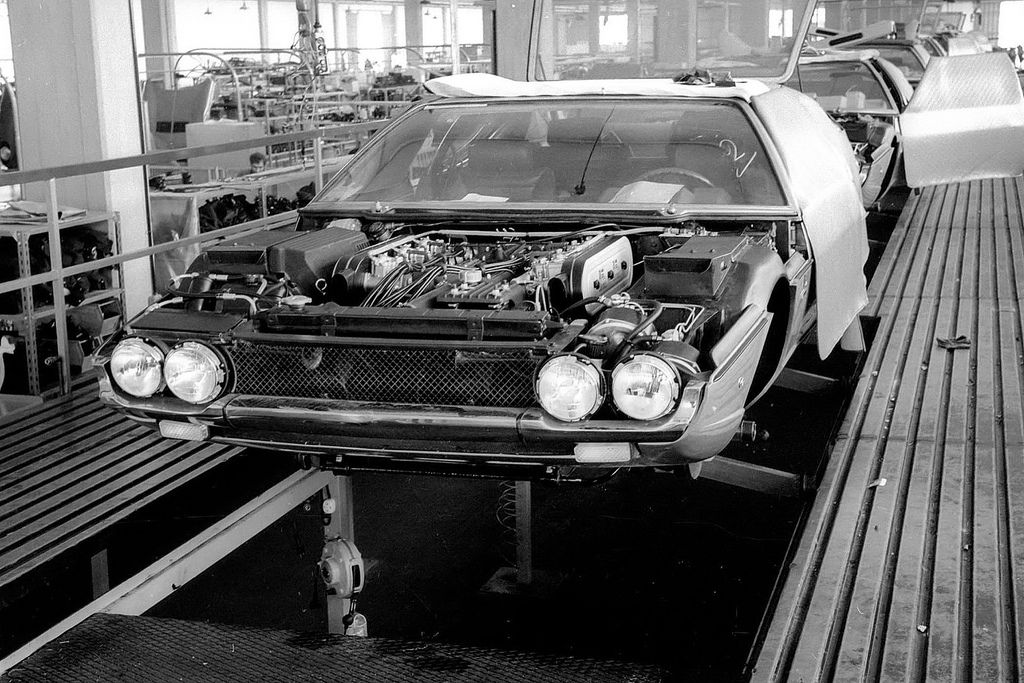 A 1968 Lamborghini Espada series 1 on the assembly line at the factory
