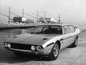 A press/marketing photo of one of the first Lamborghini Espadas