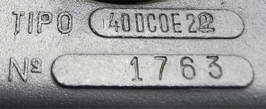 Weber 40DCOE type number with new stamped number after re-jetting