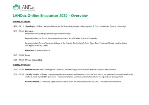 LANDac Online Encounter Preliminary Programme Overview