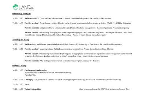 LANDac Online Encounter Preliminary Programme Overview