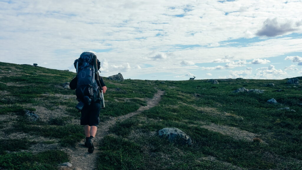 a man hiking the Hetta-Pallas Trail in Lapland
