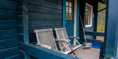 Terrace of the log cabin