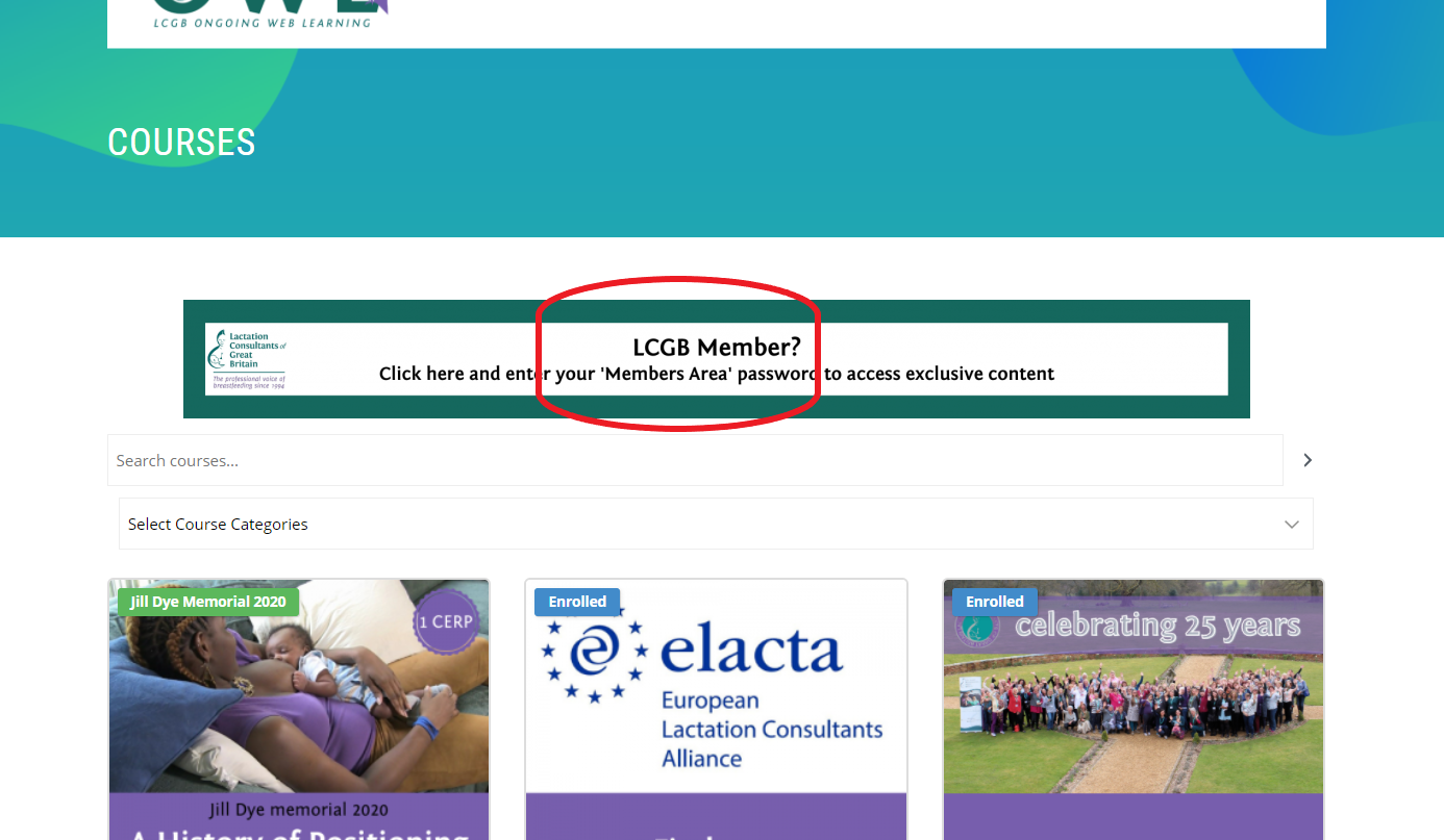 Web page with LCGB Member circled