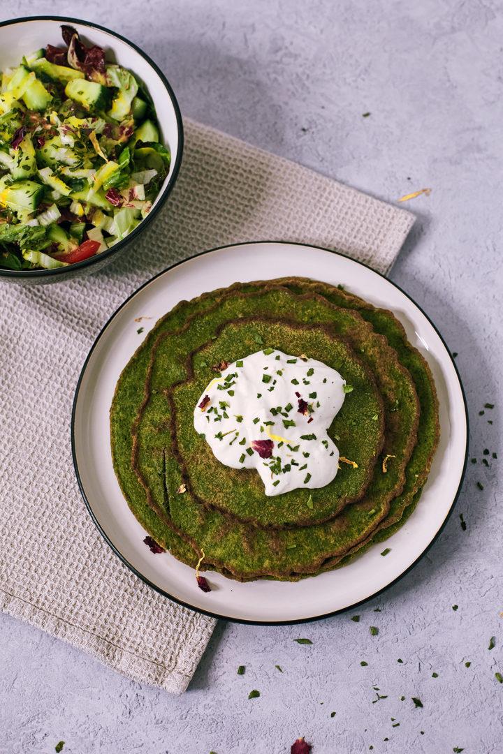 Spinat Buchweizen Pfannkuchen