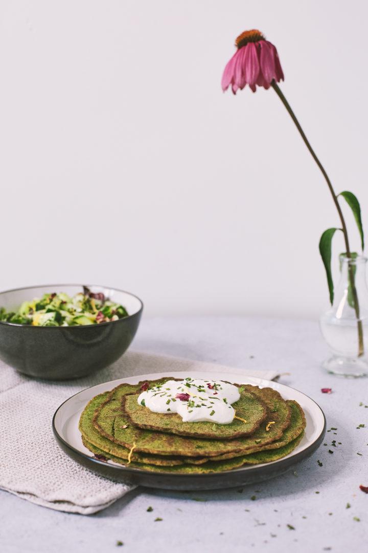 Buchweizen Spinat Pfannkuchen
