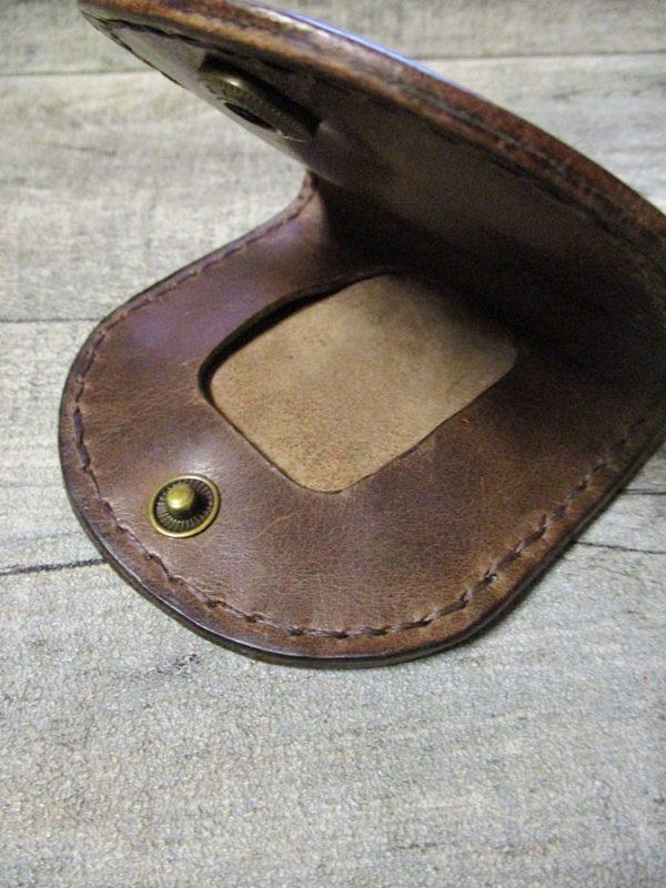 Portemonnaie Schütte braun messingfarben Rindsleder Metall - Ledertaschenmanufaktur