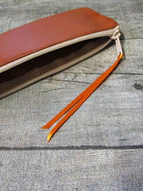 Federmäppchen Stiftemäppchen braun-champagner Leder - Ledertaschenmanufaktur