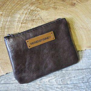 Mini-Portemonnaie dunkelbraun Reißverschluss Rindsleder - Ledertaschenmanufaktur