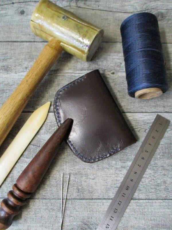 Portemonnaie Olov 105x80mm geöffnet170mm Schafnappaleder braun dunkelblau - Ledertaschenmanufaktur