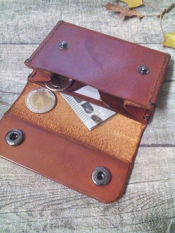 Portemonnaie Caio duo rostbraun aus vegetabil gegerbtem Rindsleder - Ledertaschenmanufaktur