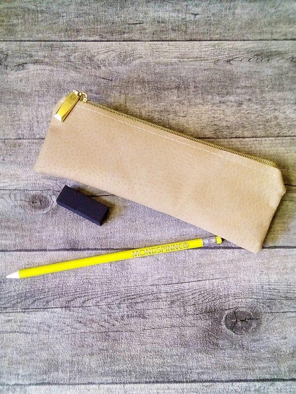 Stiftemäppchen Federmäppchen beige-gold Schweinsleder - Ledertaschenmanufaktur