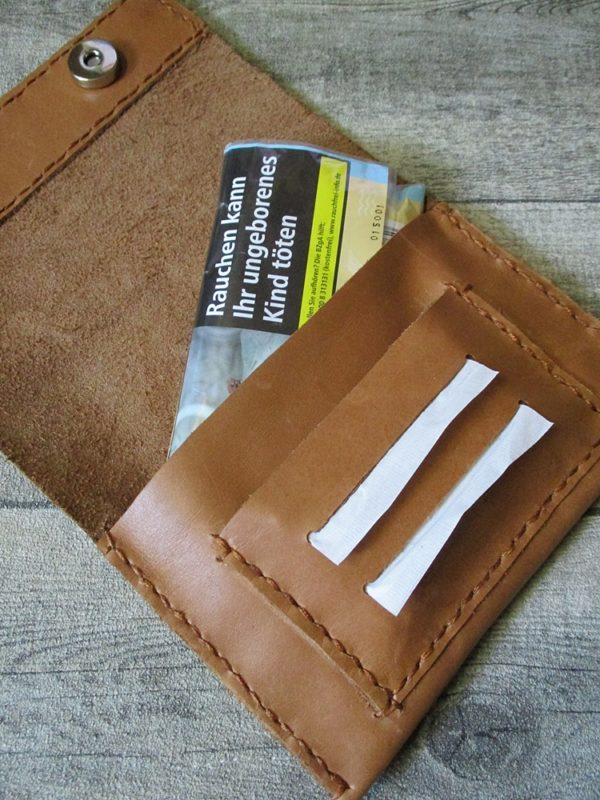 Tabaktasche Rindsleder Lachsleder gelbbraun grün - Ledertaschenmanufaktur