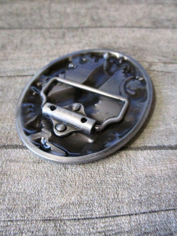 Gürtelschnalle Metallschließe Buckle silber schwarz Metall Bärentatze oval - LTM
