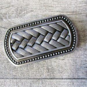 Gürtelschnalle Metallschließe Buckle silber schwarz rechteckig Flechtmuster - LTM