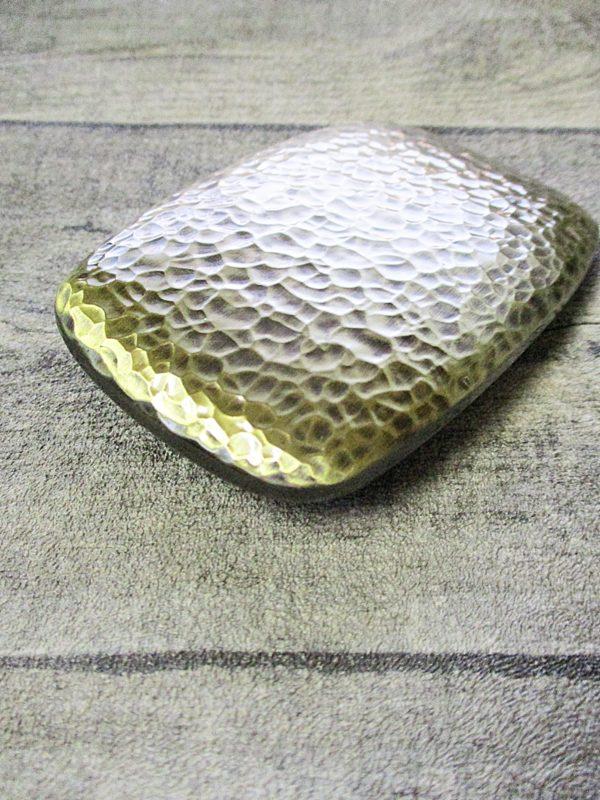 Gürtelschnalle Metallschließe messing Metall gehämmert rechteckig 85mm 57mm 82g - LTM