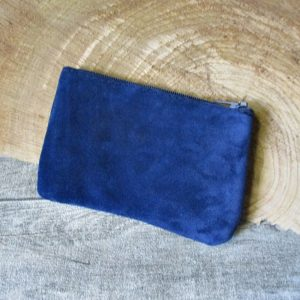 Mini-Börse Portemonnaie dunkelblau schwarz Rindswildleder