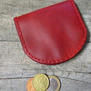 Börse Portemonnaie Schütte rot goldfarben Rindsleder Metall